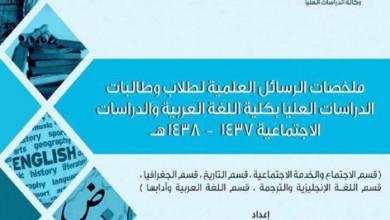 Photo of كلية اللغة العربية تصدر ملخصات رسائل الماجستير والدكتوراه التي تمت مناقشتها في العام الأكاديمي 1437 – 1438هـ
